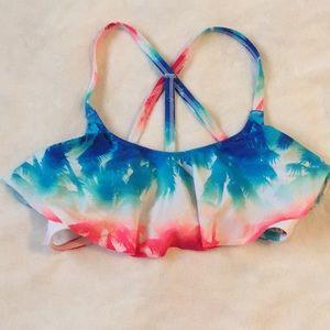 PINK bikini top red white & blue ombré palm print